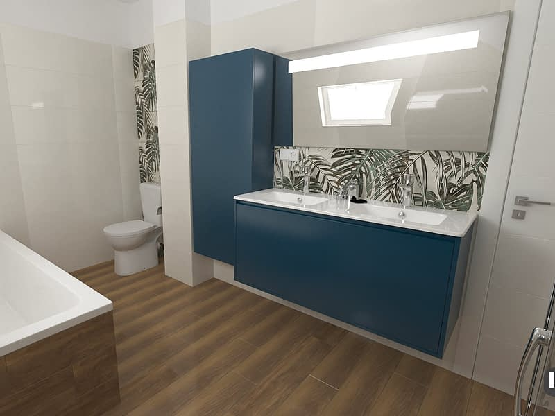 Monstera Leaves Bathroom design 02