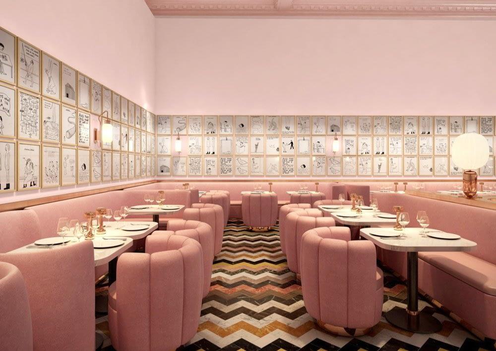 Interior_unic_si_artistic_in_nuante_de_roz_prafuit_intr-un_restaurant_din_Londra. 05