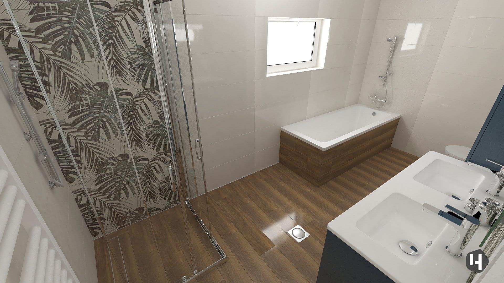 Monstera Leaves Bathroom design 01