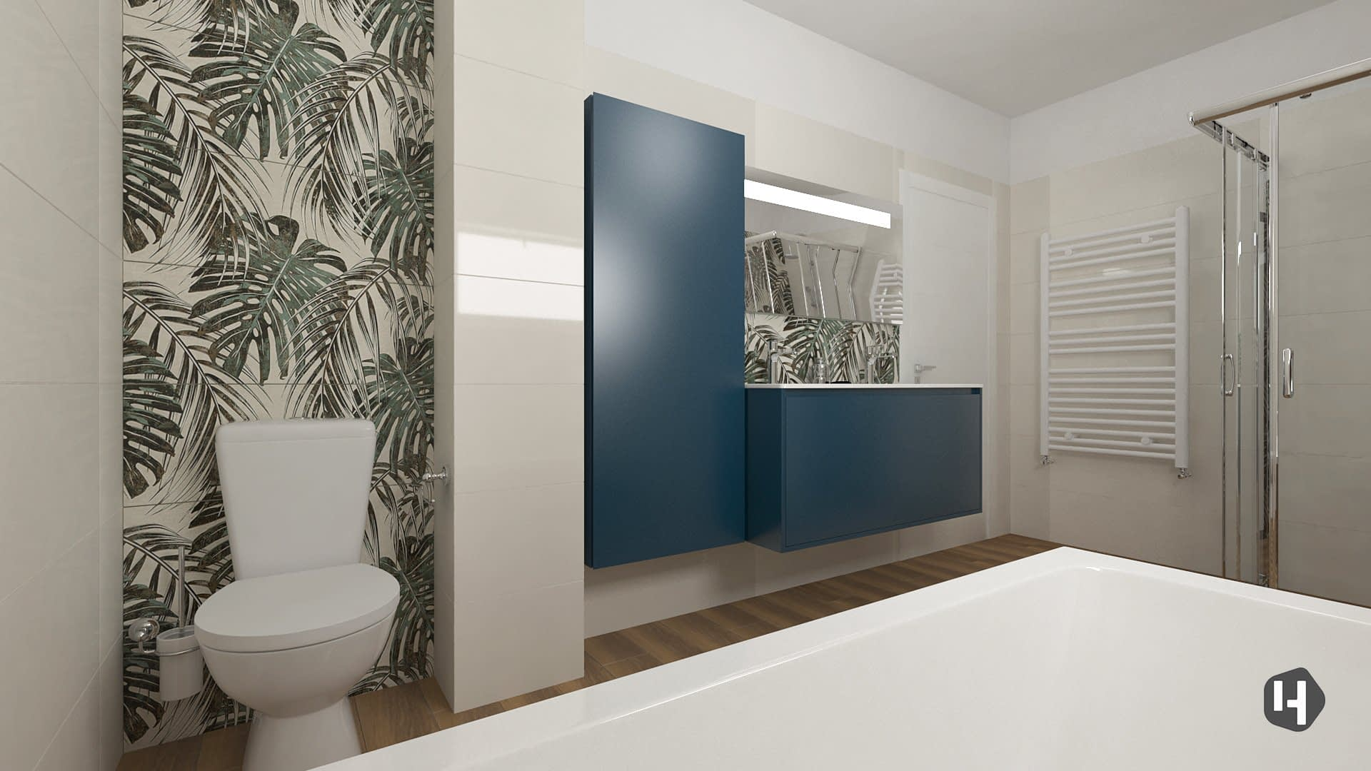 Monstera Leaves Bathroom design 03