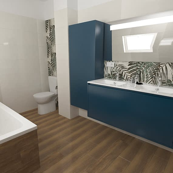Monstera Leaves Bathroom design 02