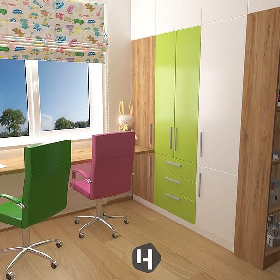 Pink & Green | Camera copii 01
